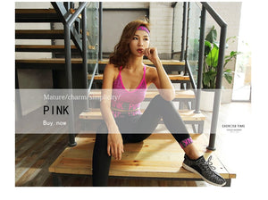 PINK Women Yoga Sets Sports Bra+Yoga Pants+Shorts