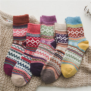 5Pairs/lot New Witner Thick Warm Wool Women Socks