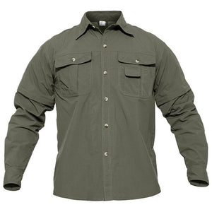 TACVASEN Quick Dry Shirt Men Hiking Shirt Removable Military
