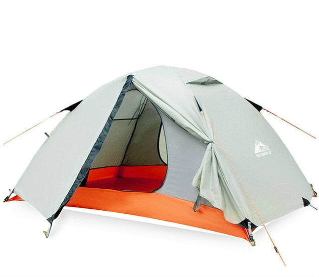 Hewolf 2person wild camping outdoor double-layer double tent 4-person mountaineering beach equipment four seasons rainstorm tent