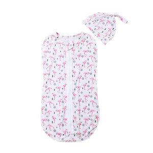 2PCS Soft Baby Swaddle Muslin Blanket Cute Animal Printed Newborn Infant Baby Sleeping Bags Zipper Wrap Swaddling Blanket+Hats