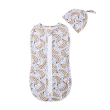 Load image into Gallery viewer, 2PCS Soft Baby Swaddle Muslin Blanket Cute Animal Printed Newborn Infant Baby Sleeping Bags Zipper Wrap Swaddling Blanket+Hats