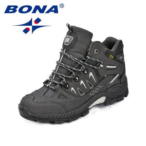 BONA New Classics Style Men Hiking Shoes Action Leather Men Athletic Shoes Lace Up Outdoor Men Jogging Sneakers Free Shipping