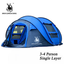 Load image into Gallery viewer, HUI LINGYANG throw tent outdoor automatic tents throwing pop up waterproof camping hiking tent waterproof large family tents