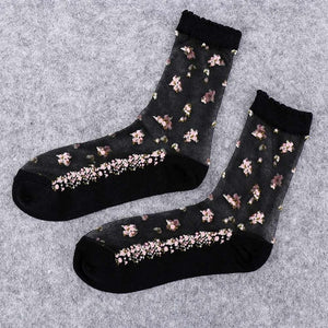 1 Pair Women Flower Sock Summer Lace
