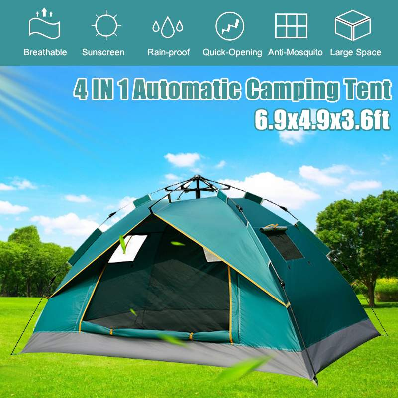 Portable Automatic Pop-Up Outdoor Family Camping Hiking Picnic Tent 2 Person Easy Open Camp Tents Ultralight Instant Shade