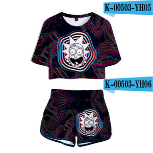 2019 NEW  Two Pieces sets Women Fashion girl Casual T-shirt+shorts