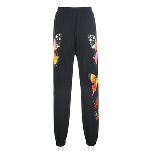 Darlingaga  Butterfly Print Tracksuit Women Sweatpants Two Piece Set Zipper Hoodie and Pants