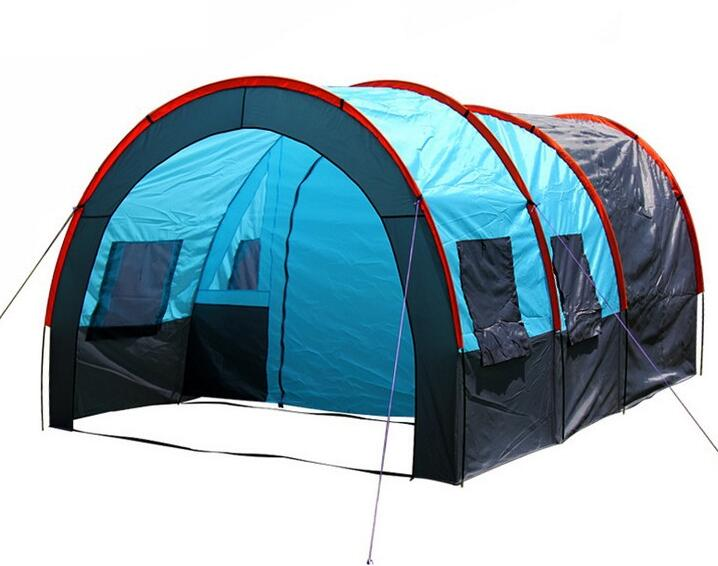 5-10 person big doule layer tunnel tent outdoor camping family party hiking fishing tourist tent house