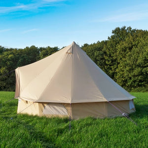 GRNTAMN Light Khaki Waterproof Cotton Canvas 4M Bell Tent Outdoor Camping 10 Family Camping Yurt Tent
