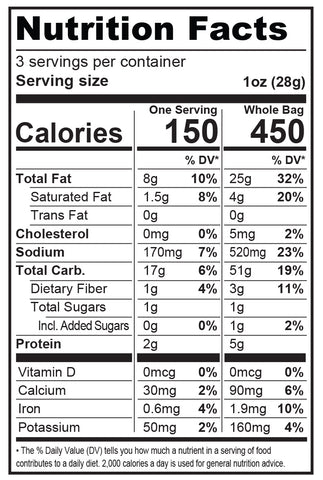 3oz Guacamole Ranch Snack Mix Nutrition Fact Panel