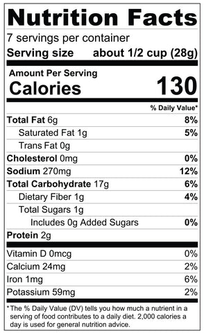 7oz Guacamole Ranch Snack Mix Nutrition Facts
