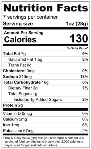 7oz Mango Chili Tortilla Chips Nutrition Facts