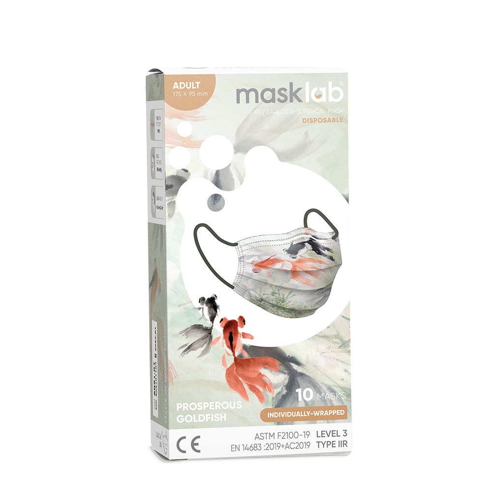 Prosperous Goldfish Adult 3-ply Surgical Mask 2.0 (Box of 10, Individually-wrapped)