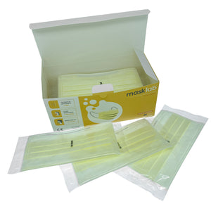 Yellow 3-Ply Surgical Face Mask (Individually-wrapped 25-pack)