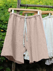 Frauen-Shift-Baumwolle Leinen Solide Shorts Hosen
