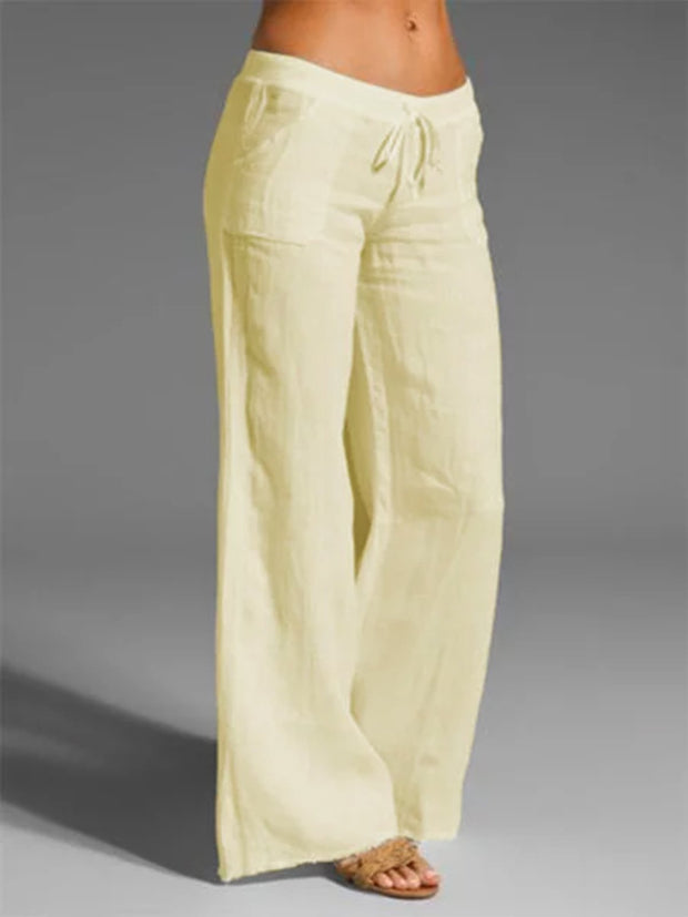 Frauen-Hosen-beiläufige Beige Cotton-Blend-Pants