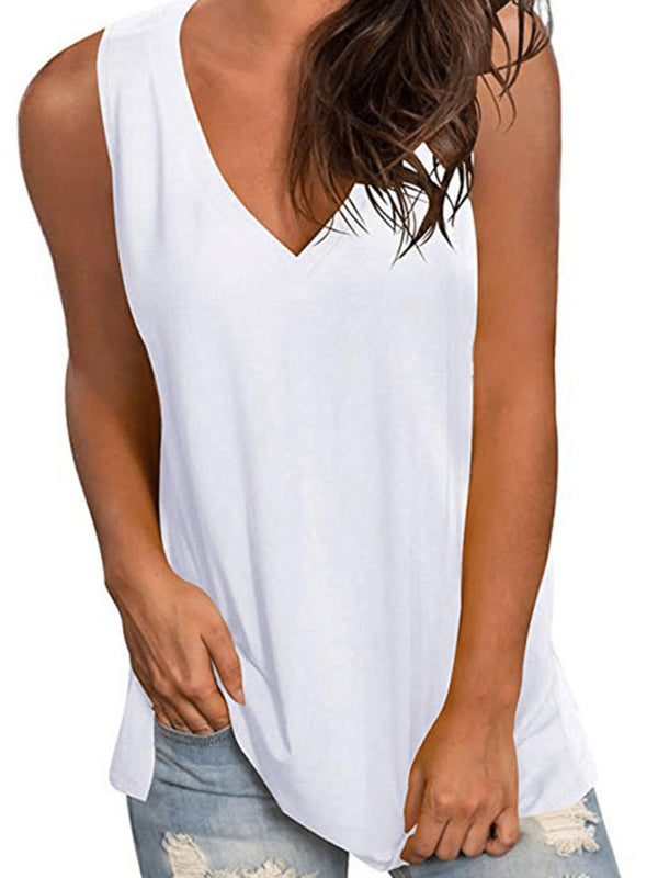 Frauen-feste beiläufige Sleeveless Cotton-Blend-Shirts & Tops