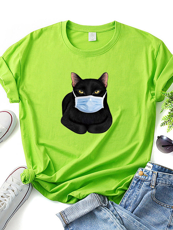 Casual Plus Size Printed Kurzarm T-Shirt Shirts Tops