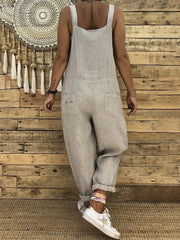 Lace-up Taschen Lose feste Jumpsuit