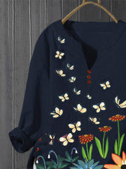 Dark Blue Pastoral Cotton-Blend-Shirts & Tops