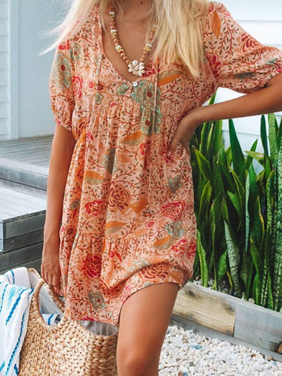 Orange Rot Short Sleeve Boho Kleider