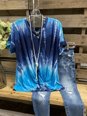 Tie-Dye Short Sleeve Casual T-Shirt & Top