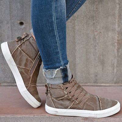 Frauen Zipper Lace-up Leinwand beiläufige flache Booties