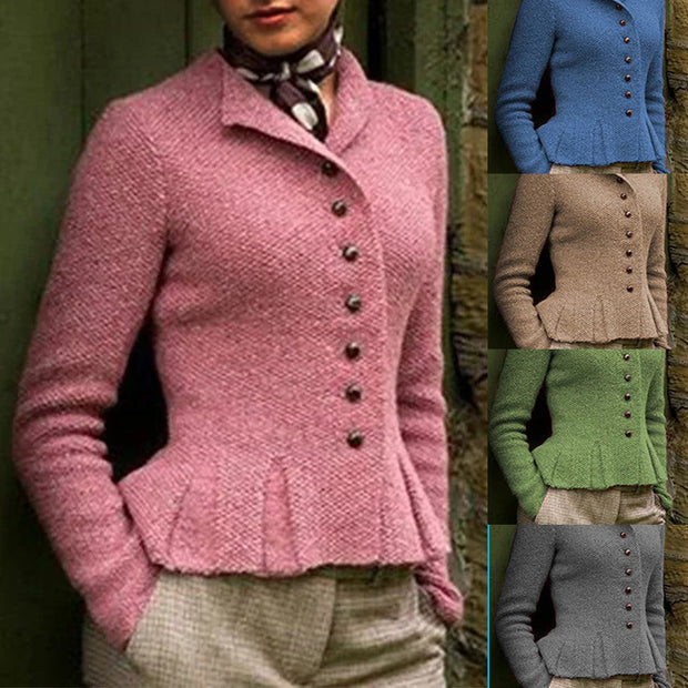 Frauen Buttoned gekräuselter Hem Weinlese-Strickjacke Strickjacken