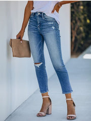 Denim Casual Ripped Jeans