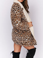 Mode Leopard Slim Langarm Mantel
