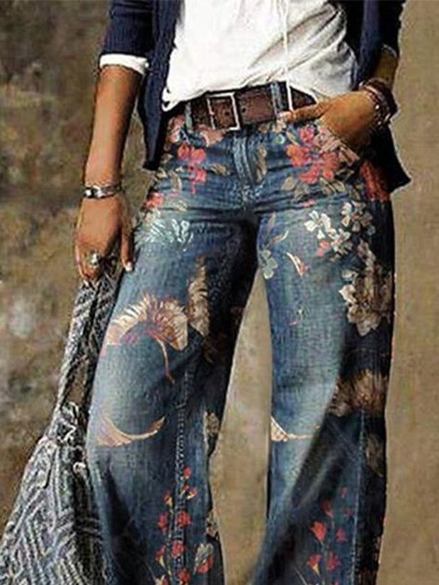 Farbe Blue Denim Simple Floral Casual Pants