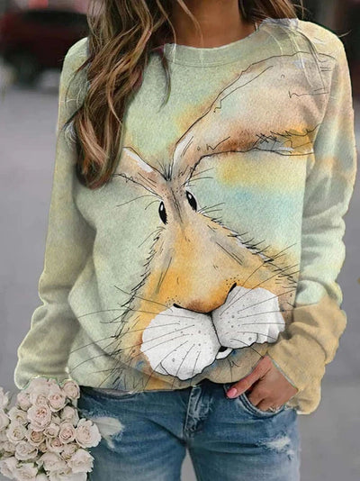 Damen Cartoon Rabbit Print Sweatshirt Top Bluse