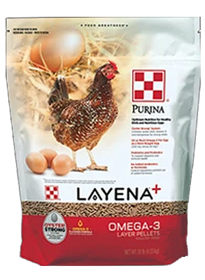 Purina® Layena® Plus Omega-3 poultry feed package