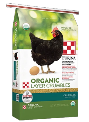 Purina® Organic Layer Crumbles poultry feed package