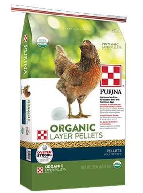 Purina® Organic Layer Pellets poultry feed package