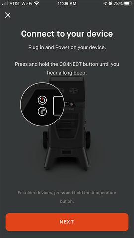 "Phone screen with the message ""Connect to your device"" and an image showing the connect button on the device controller"