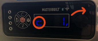 "Device controller with ""C"" in lower left corer of LCD circled. Scroll knob is at the far right of the controller."