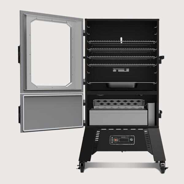 "40"" Digital Charcoal Smoker Open"