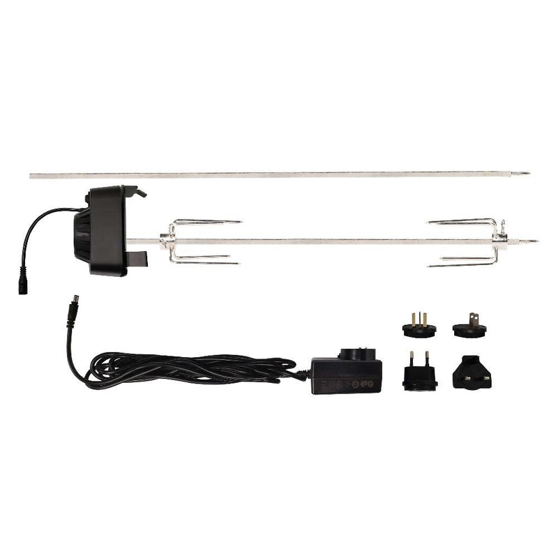 Rotisserie spit, auger, power cord and attachments