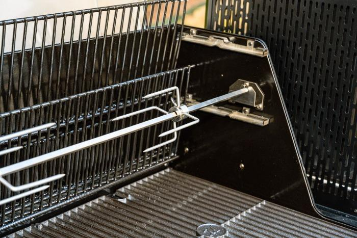 Rotisserie spit rod and meat claw installed in a Gravity Series Grill + Smoker