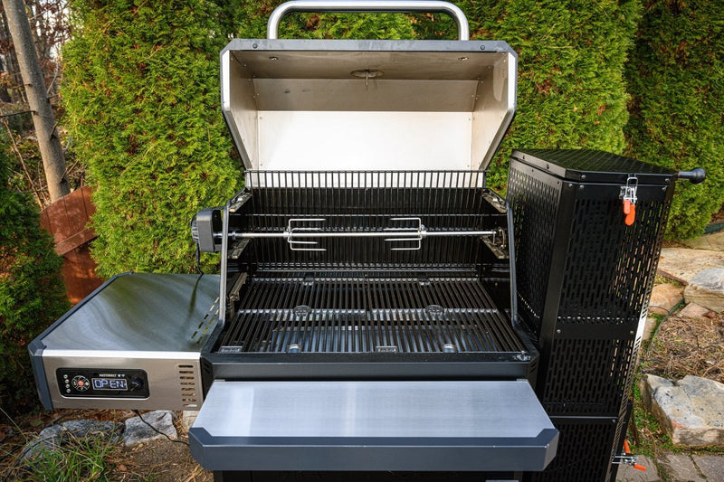 Rotisserie installed in a Gravity Series Grill + Smoker