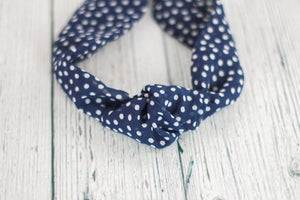 Navy Polka Dot Top Knot