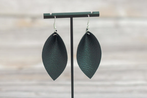 Black Folded Faux Leather Earrings