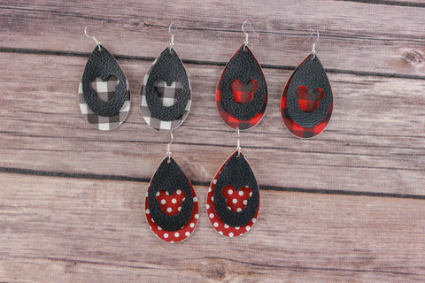 Buffalo Plaid Mickey Earrings