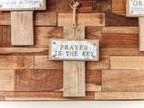 "Hanging Wooden Cross w/ Metal Plaque (12"")"