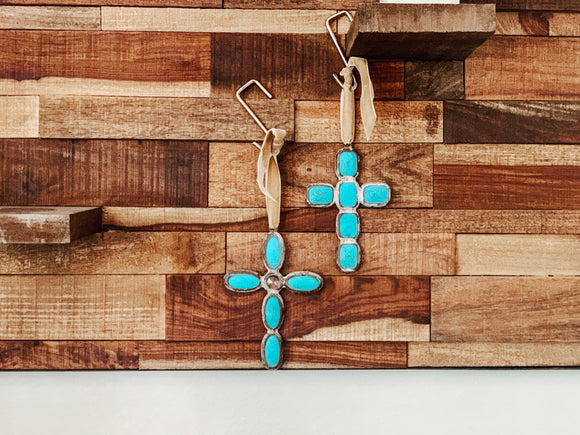 Turquoise Cross Ornament (6