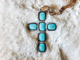 "Turquoise Cross Ornament (6"")"