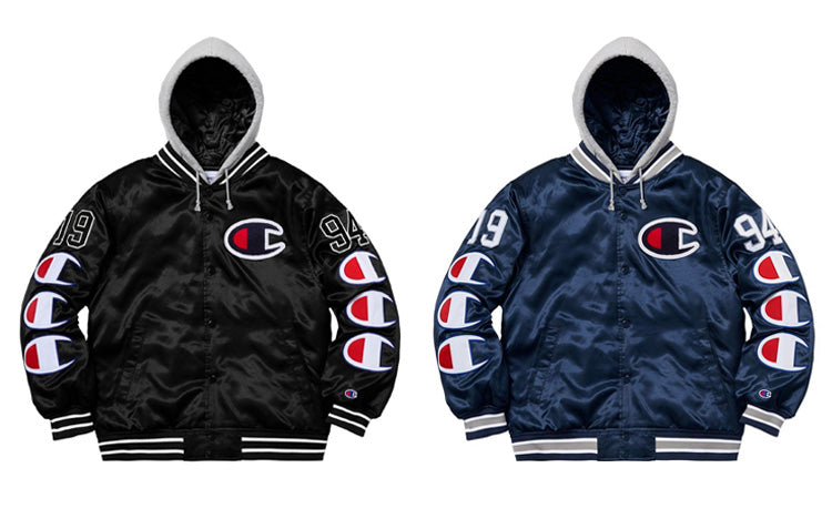 Champion x Supreme Hooded Varsity Jacket in Black and Navy