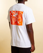 Wardrobe staples with a splash of colour. The Dreams Tee in white from local brand Arcade is constructed from premium cotton and features the 'A' logo printed on the front with an orange design on the back. An easy tee that you can throw on over any pants in your rotation.